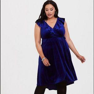 TORRID Blue Velvet Dress